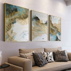 3 pieces gold lines abstract painting canvas wall art pictures for living room wall decor bedroom home decor original acrylic blue texture Flow Painting, Texture Painting, Painting Canvas, Wall Canvas, Canvas Art, Cactus Wall Art, Wall Decor Pictures, 3d Texture, Printable Wall Art