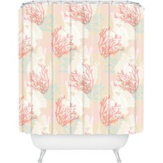 DENY Designs Aimee St Hill Tiger Fish Pink Shower Curtain ($80) ❤ liked on Polyvore featuring home, bed & bath, bath, shower curtains, deny designs, pink shower curtains and deny designs shower curtains