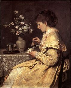 Otto Scholderer ~ Woman at the Breakfast Table ~ (German: 1834-1902)