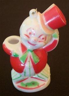 50s Hard Plastic Snowman Christmas Ornament~Candy Cane | #22148055