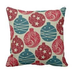 Cool Retro Christmas Ornaments Red Blue Gifts Throw Pillow