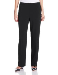 Briggs New York Womens Flat Front Pull On Pant with Slimming Solution Black 10 ** Details can be found by clicking on the image. (Note:Amazon affiliate link)