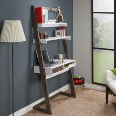 Furniture of America Tali Contemporary Leaning Writing Desk (Dark Gray & White), Grey, Size Medium Leaning Desk, Leaning Ladder, Ladder Desk, Ladder Bookcase, Etagere Bookcase, Bookshelves, Stand Up Desk, White Shelves, Floating Shelves