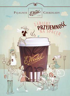 #chocolate #illustration #drawing #poster #people #walk #park E.Wedel's by luiza kwiatkowska