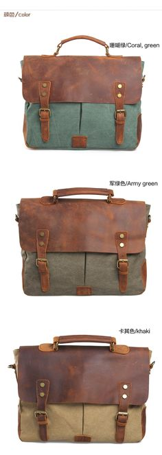 Men's Women Vintage Canvas Leather Shoulder Messenger Bag handbag briefcases 201-in Messenger Bags from Luggage & Bags on Aliexpress.com