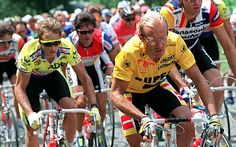 Fignon leading Greg LeMond in the 11th stage of the Tour de France in 1989