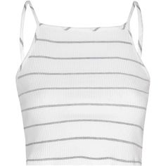 Cream And Grey Rib Button Down Top ($16) ❤ liked on Polyvore featuring tops, white, striped top, cotton jersey, stripe crop top, ribbed crop top and spaghetti strap crop top