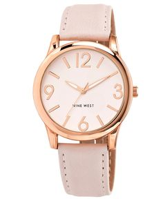 Keep it pretty in pink this season with Nine West's blush-colored watch. It can go from the office to the weekend and back