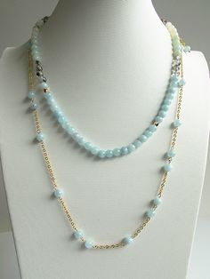 Layered necklace, natural aquamarine necklace, natural rutilated, labradorite, amazonite mixed, gradual blue and gray color, FREE Shipping #newarrival #highquality #affordable #freeshipping #bead #beads #gem #gems #gemstone #gemstones #jewelry #jewellery #jewelrymaking #jewelrysupplies #jewelrysupply #etsy #farragem #design #designer #handcrafted #handmade #ring #necklace #earrings #bracelet #pendant