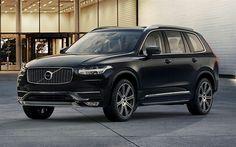 Download wallpapers Volvo XC90, 2017 cars, luxury cars, black XC90, SUVs, swedish cars, Volvo