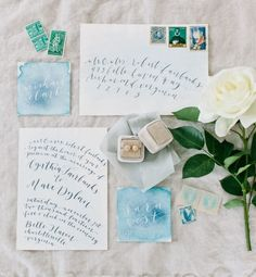 Watercolor invitation suite with a darling Mrs Box