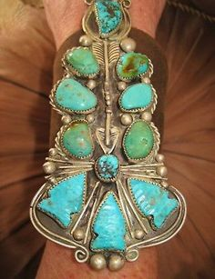 NATIVE-AMERICAN-TURQUOISE-LEATHER-BRACELET-142g-Sterling-Silver-CHAVEZ-4-5-034-wide