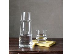 Water Carafe....perfect for a bedside table, and the glass rests upside down on-top. very cool!