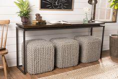 Floating Top Steel Base Sofa Table - James+James Furniture | Springdale, Arkansas