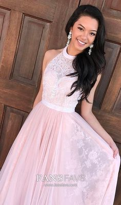 Pink Prom Dresses Long, A Line Prom Dresses High Neck, Chiffon Prom Dresses Lace, Beading Prom Dresses Elegant #FansFavs #pinkdress #alinedress #modest