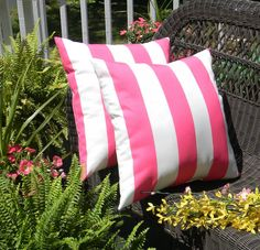 Items Similar To Set Of 2 X Indoor Outdoor Decorative Throw Pillows Preppy Pink White Stripe On Etsy