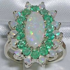 English 9K 9ct White Gold  Large Natural Genuine Real Opal & Emerald Cluster Ring  - Made in England - on Etsy, $449.00