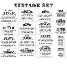 Basics Definition (Vintage Font) Flour Sugar Oats Rice Pasta Tea Coffee Kitchen Canister Labels self adhesive vinyl sticker