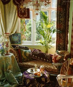 The warm colour palette and detailed patterns create a Moroccan themed space. The perfect place to relax...
