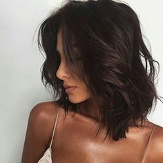 dark hair - brunette - bob - lob - long bob - messy waves