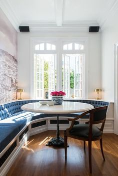 Circular banquette with tufted cushion. Large French bistro table in breakfast nook. Perfect addition to the kitchen - SKIN Interior Design San Francisco CLICK TO SEE MORE! OF THIS DESIGN PROJECT!