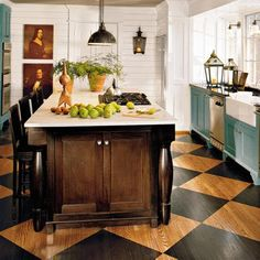 Painted floor in natural and black checkered pattern.