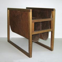 Vintage Wood and Suede Leather Magazine Rack