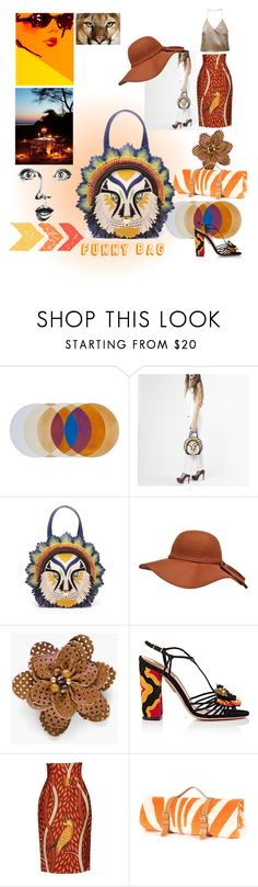 """""""Lion Funny Bag"""" by lizzylima ❤ liked on Polyvore featuring Chico's, GE, Aquazzura, Stella Jean, Barbara Casasola, Summer, funnyBag and braccialini"""