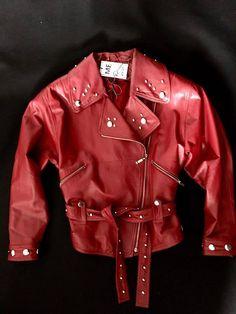 hand-painted jacket, custom jacket, leather jacket, biker jacket, red biker jacket, vintage jacket