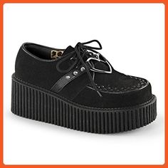 Womens Black Platform Shoes Lace Up Vegan Suede Creepers Shoes 3 Inch Platform Size: 11 - Sneakers for women (*Amazon Partner-Link)