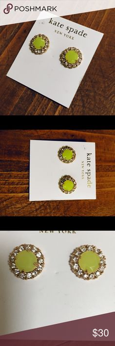 Lime yellow  🍋 Kate spade earrings 14k Gold fill. From the secret garden collection. Adorable color for summer. Cushion cut stud earrings with post backs. NWT kate spade Jewelry Earrings