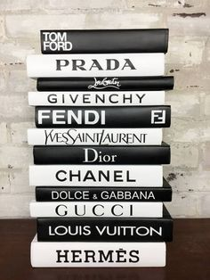 Fashion Designer Book Labels (Set of 12 – Giant Shoe Boxes Fashion Designer Book End Labels. Set of 12 Labels to Create your own DIY Designer Books. Books or Dust Covers are NOT included. Each Label is apx 1 Ps Wallpaper, Fashion Wallpaper, Computer Wallpaper, Pc Computer, Boujee Aesthetic, Aesthetic Pictures, Aesthetic Fashion, Aesthetic Bedroom, Chanel Decoration