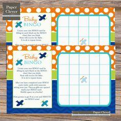 Airplane baby shower bingo boychevronorangeblue by paperclever, $6.00