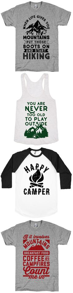 Enjoy the great outdoors with these awesome designs. Hiking, Camping and more! Free Shipping on U.S. orders over $50.00.