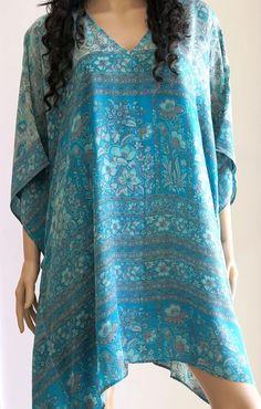 Kaftan Dress Blue Kaftan Cover up Summer Dress by silkzdesign