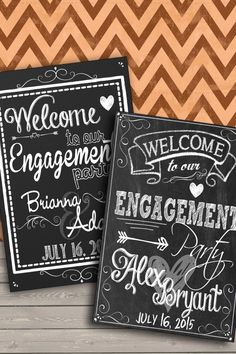 Chalkboard Engagement Party Welcome Sign Welcome to our engagement party chalkboard