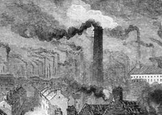 Manchester in the Industrial Revolution, circa 1865. Picture: Getty  This sketch clearly shows 2 main issues that the middle and working class struggled with which are  - overcrowding (shown in the many row houses lined up continuously)  -air pollution (due to the the coal-fired factories and newly popular coal powered trains, the air became very contaminated