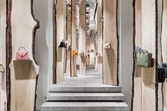 """""""The Forest"""" installation at Valextra store by Kengo Kuma, Milan – Italy"""