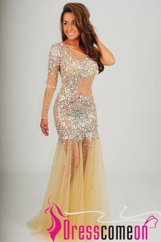 215.00$  Buy now - http://vigqb.justgood.pw/vig/item.php?t=pvxk5913347 - Mermaid One Shoulder Long Sleeve Beaded Tulle Champagne Prom Dress/Evening Gown