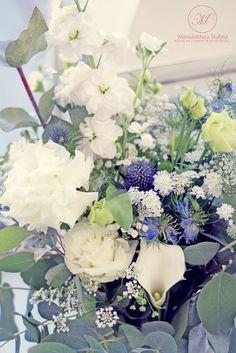 #wedding #decorations #flowers #blue #white #elegant #style #design #rural #ślub #ślubne #dekoracje #styl #kwiaty #manufakturaslubna