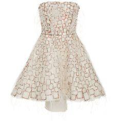 Moda Operandi (33,490 MYR) ❤ liked on Polyvore featuring dresses, white beaded dress, corset dresses, white corset dress, beaded cocktail dress and white mini dress