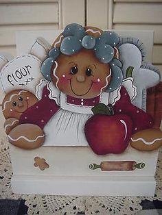 HP~~Gingerbread Apple Wood NAPKIN Holder