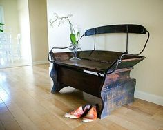Repurposed Horse Carriage Bench - now that's cleaver.