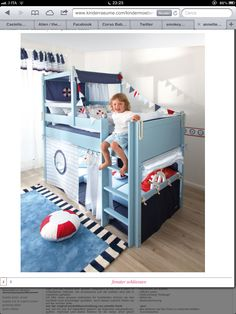 The designer mid sleeper bed in a Lifebuoy theme for your son will provide hours of play and soothing sleep. Kura Ikea, Ikea Bed, Cool Toddler Beds, Toddler Rooms, Baby Boy Rooms, Mid Sleeper Bed, Bedding Inspiration, Childrens Beds, Baby Room Decor