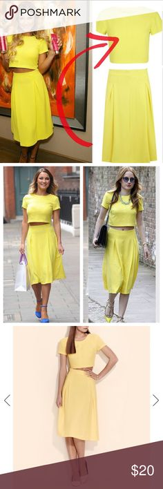 ASOS Miss Selfridge Yellow Crepe Cropped Shirt Yellow Crepe Crop T shirt 97% Polyester,3% Elastane. Size 4. Zipper closure in back. Runs true. Machine washable. ASOS Tops Crop Tops