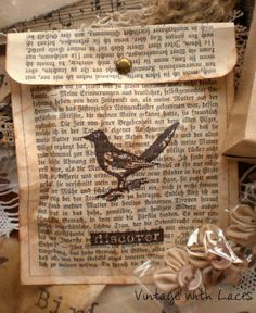 Gift bag made from old book pages