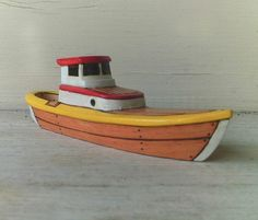 Yellow Torino Wooden Toy  Boat by FriendlyFairies on Etsy, $25.00