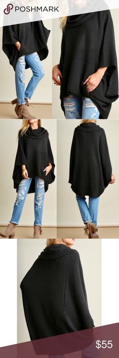 KAYCEE poncho style sweater - D. CHARCOAL Super fun & comfy cowl neck sweater. So chic!   Slouchy, oversized AVAILABLE IN OATMEAL AND DARK CHARCOAL (pic looks black but actually deep charcoal shade) 60% cotton,40% spandex   NO TRADE, PRICE FIRM Bellanblue Sweaters