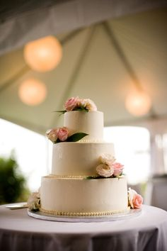 Flowers with little pearls     Summer Wedding Cake Ideas Wedding Cakes Photos on WeddingWire