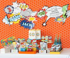 This site has a TON of party themes, and sells printables you can use. I especially love his vintage superhero one.  Wants and Wishes: Vintage Superhero Birthday Party Collection.... Calling all Superheroes!